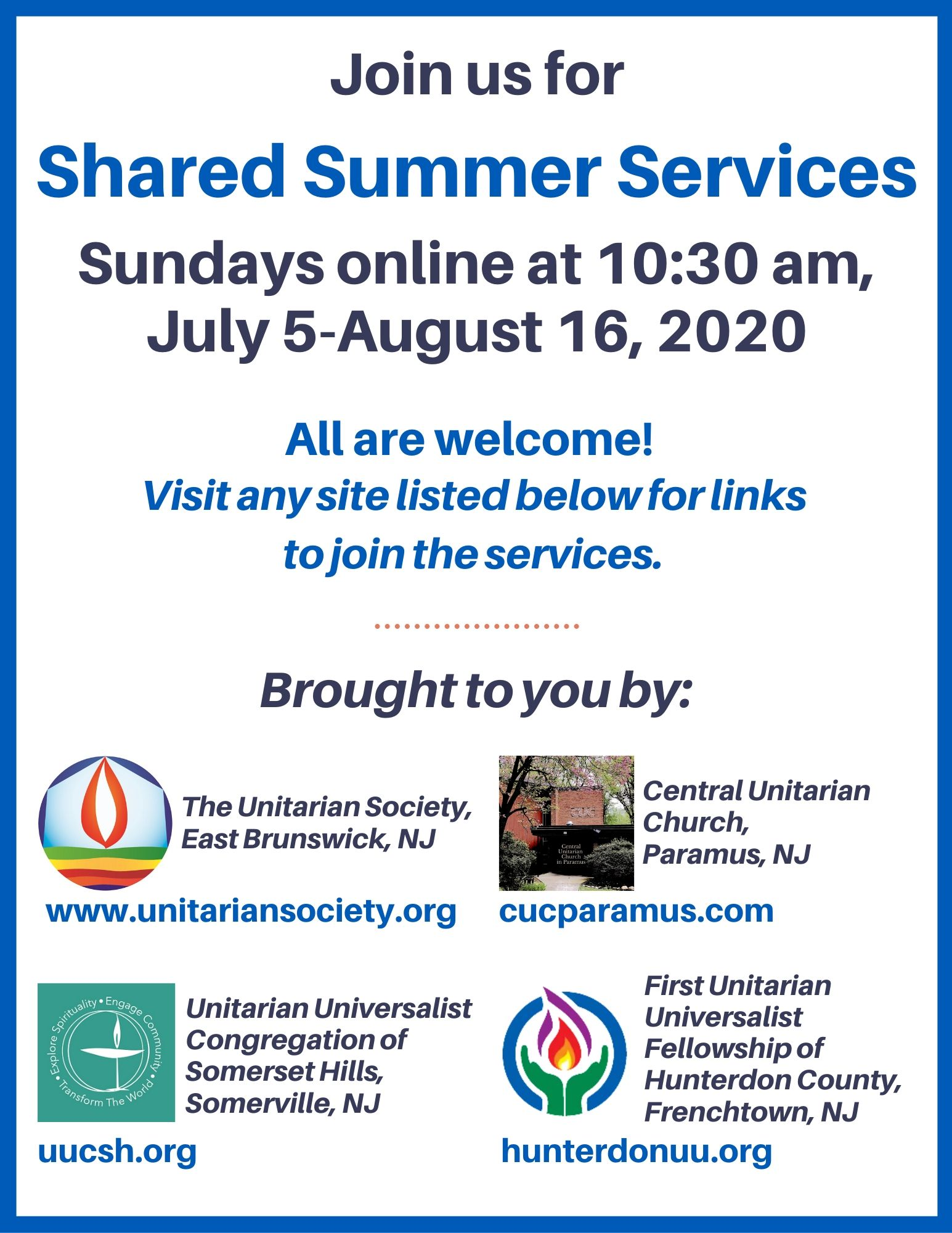 Shared Summer Services — Online Sundays @10:30 AM July 5th through August 16th